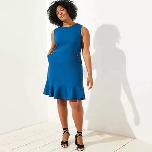 NWT Loft Plus Button Detail Flounce Hem Dress Blue